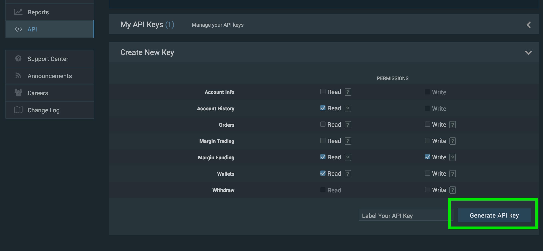 API-nøgle og API-secret oprettes.